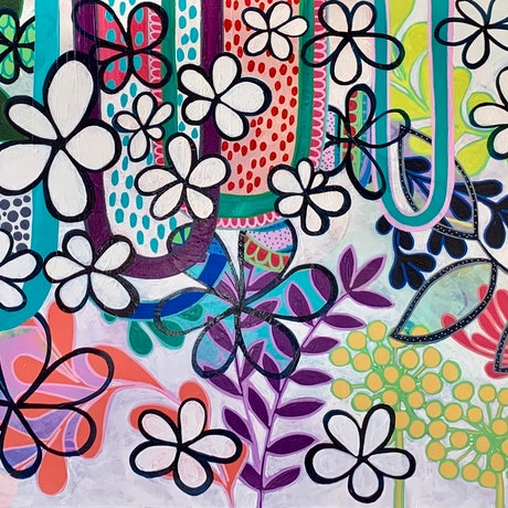(CreativeWork) Power Flower by Rebecca Warr. Acrylic Paint. Shop online at Bluethumb.