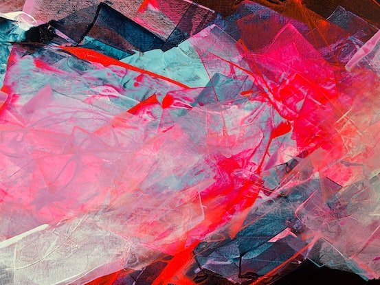 Fluorescent pink abstract folds over a dark Paynes Grey background.