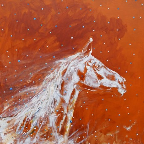 (CreativeWork) The Snowy Horse by Katerina Apale. Acrylic Paint. Shop online at Bluethumb.