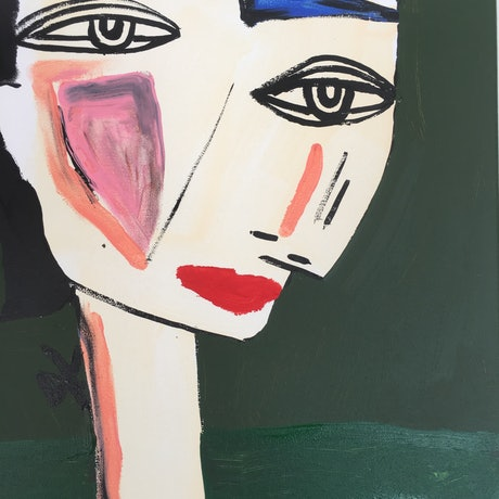 (CreativeWork) Mimi Green by Kate Rogers. Acrylic Paint. Shop online at Bluethumb.