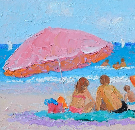 (CreativeWork) SWEET SUMMER VACATION - BEACH IMPRESSION by Jan Matson. Oil Paint. Shop online at Bluethumb.