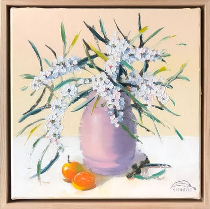 (CreativeWork) Weeping myrtle in pale pink vessel by kirsty mcintyre. Oil Paint. Shop online at Bluethumb.