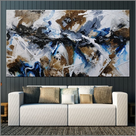 (CreativeWork) Blue Rust 190cm x 100cm Rust Blue White Abstract Textured Acrylic Gloss Finish FRANKO by _Franko _. Acrylic Paint. Shop online at Bluethumb.