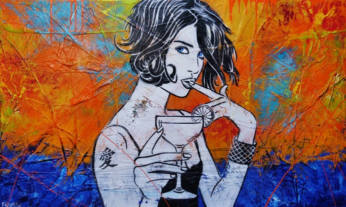(CreativeWork) Lime Time Cocktails 200cm x 120cm Cocktail Girl Urban Pop Art Textured Acrylic Gloss Finish FRANKO by _Franko _. Mixed Media. Shop online at Bluethumb.
