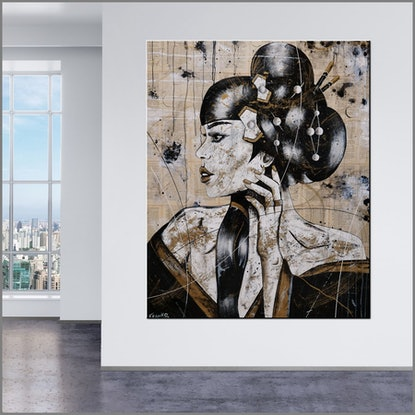 (CreativeWork) Golden Silk With Geisha 120cm x 150cm Geisha Abstract Realism Book Pages Acrylic Gloss Finish FRANKO by _Franko _. Mixed Media. Shop online at Bluethumb.