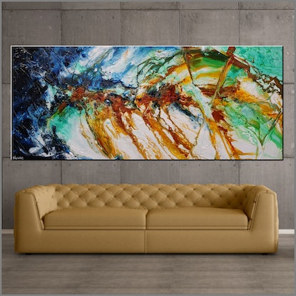 (CreativeWork) Sienna Grace 240cm x 100cm Sienna Blue Green Abstract Textured Acrylic Gloss Finish FRANKO by _Franko _. Acrylic Paint. Shop online at Bluethumb.