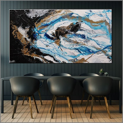 (CreativeWork) Cobalt Pearl 190cm x 100cm Blue Gold Black Abstract Textured Acrylic Gloss Finish FRANKO by _Franko _. Acrylic Paint. Shop online at Bluethumb.