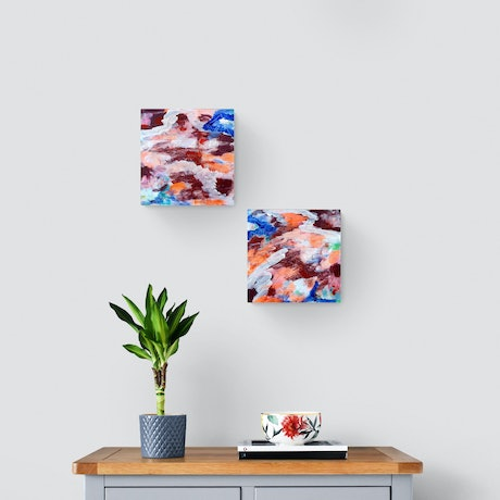 """(CreativeWork) """"Lost In the Moment""""  Abstract Paintings( Set of 2) by Alpana Rai. Acrylic Paint. Shop online at Bluethumb."""