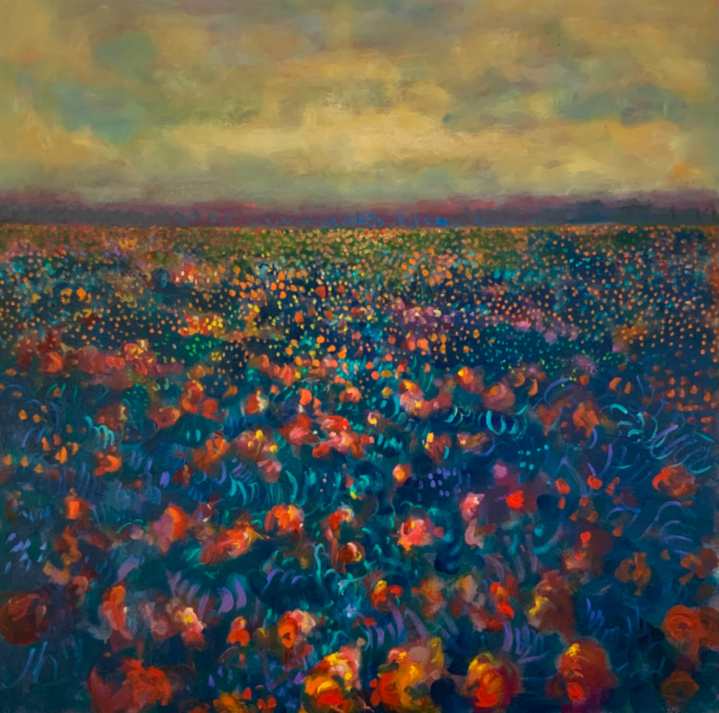 (CreativeWork) Wildflowers by Sara Roberts. Oil. Shop online at Bluethumb.