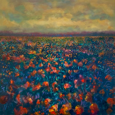 (CreativeWork) Wildflowers by Sara Roberts. Oil Paint. Shop online at Bluethumb.