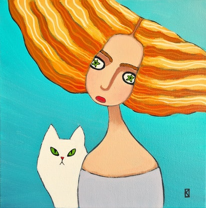 (CreativeWork) Red Blonde and White Cat - Little Guardians - People - Animals by Olga Kolesnik. Acrylic Paint. Shop online at Bluethumb.