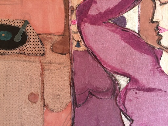(CreativeWork) 'Woman in Purple Dress' by Mark Ewenson. Mixed Media. Shop online at Bluethumb.