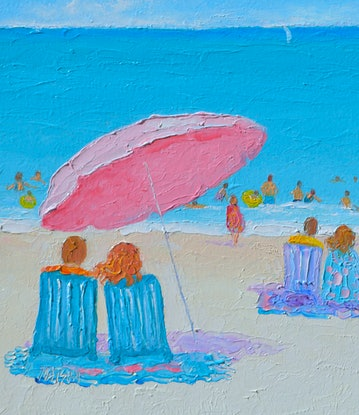 (CreativeWork) LIFE IN THE SUMMER HEAT - BEACH IMPRESSION by Jan Matson. Oil Paint. Shop online at Bluethumb.