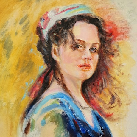 (CreativeWork) Girl with scarf by Gerard Mignot. Acrylic Paint. Shop online at Bluethumb.