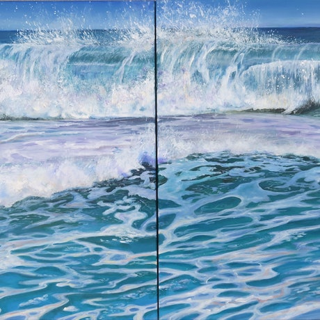 (CreativeWork) Wave Crush by Kathy Bierma. Acrylic Paint. Shop online at Bluethumb.