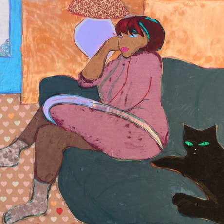 (CreativeWork) 'Cat Woman'  by Mark Ewenson. Mixed Media. Shop online at Bluethumb.