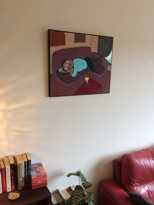 (CreativeWork) 'Woman with glass of wine' by Mark Ewenson. Mixed Media. Shop online at Bluethumb.