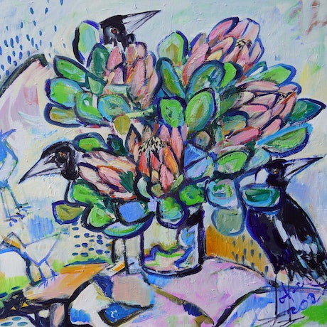 (CreativeWork) Still Life with Proteas and Magpies  by Katerina Apale. Oil Paint. Shop online at Bluethumb.