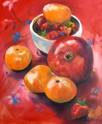 (CreativeWork) Clementine, Strawberries and Pomegranate - original still-life by Mia Laing. Oil Paint. Shop online at Bluethumb.