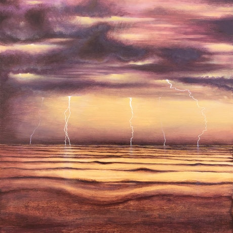 (CreativeWork) Summer Evening Storm by Andrea Marriette. Acrylic Paint. Shop online at Bluethumb.