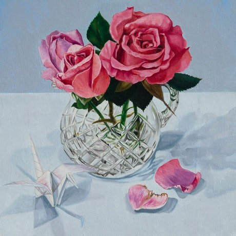 (CreativeWork) Roses in Crystal by Melissa Ritchie. Oil Paint. Shop online at Bluethumb.