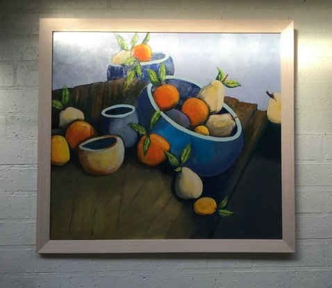 (CreativeWork) Oranges and lemons by Ron Brown. Acrylic Paint. Shop online at Bluethumb.