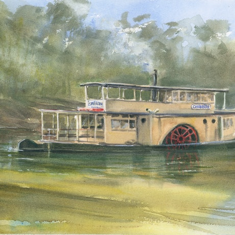 (CreativeWork) Paddle Steamer on the Murray River by Anica Amphlett. Watercolour Paint. Shop online at Bluethumb.