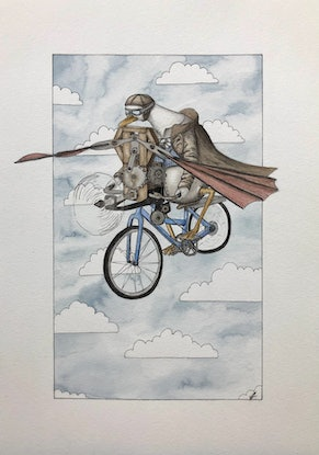 (CreativeWork) Mr Periwinkle's Flight  by Time Found Tails .. Watercolour Paint. Shop online at Bluethumb.