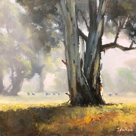 (CreativeWork) Misty Morning, Spring Flat by John Rice. Oil Paint. Shop online at Bluethumb.