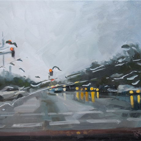 (CreativeWork) Wet Day Drive by Richard Washbourn. Oil Paint. Shop online at Bluethumb.