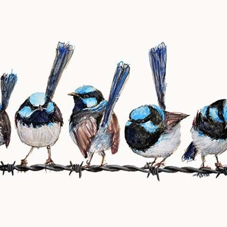 (CreativeWork) Wrens on a wire by Rebecca Hill. Mixed Media. Shop online at Bluethumb.