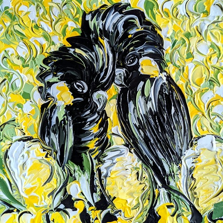 (CreativeWork) Yellow Blooms and Black Cockatoos by Lisa Fahey. Acrylic Paint. Shop online at Bluethumb.