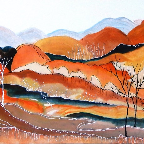 (CreativeWork) Road to Yeperenye by Doodie Herman. Acrylic Paint. Shop online at Bluethumb.