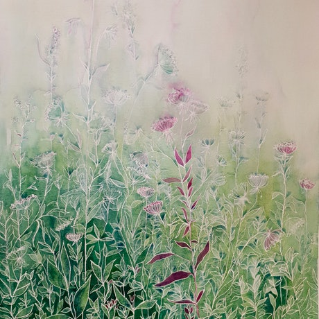 (CreativeWork) My Secret Tangled Garden by Lucinda Leveille. Watercolour Paint. Shop online at Bluethumb.