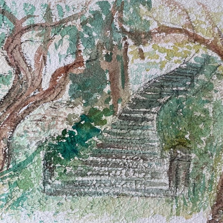 (CreativeWork) Stairway to Nature by Cecilia Bell. Watercolour Paint. Shop online at Bluethumb.