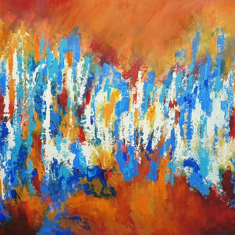 (CreativeWork) Dissolving Sun by Brigitte Ackland. Acrylic Paint. Shop online at Bluethumb.