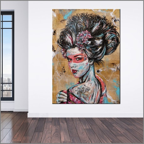 (CreativeWork) Cherry Euro Geisha 140cm x 100cm Geisha Abstract Realism Book Pages Gloss Finish FRANKO by _Franko _. Mixed Media. Shop online at Bluethumb.