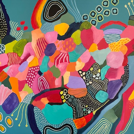 (CreativeWork) The Seahorse Garden  by Hayley Mischief Lord. Acrylic. Shop online at Bluethumb.