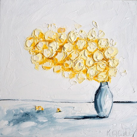 (CreativeWork) Little Wattle Right  by Michelle Keighley. Oil Paint. Shop online at Bluethumb.