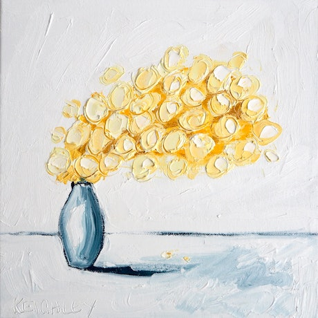 (CreativeWork) Little Wattle Left  by Michelle Keighley. Oil Paint. Shop online at Bluethumb.