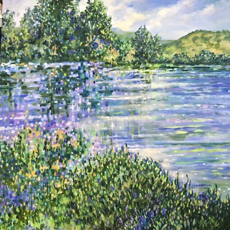 (CreativeWork) Afternoon lake by sue bannister. Oil Paint. Shop online at Bluethumb.