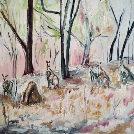 (CreativeWork) The Gathering by Michelle Keighley. Oil Paint. Shop online at Bluethumb.
