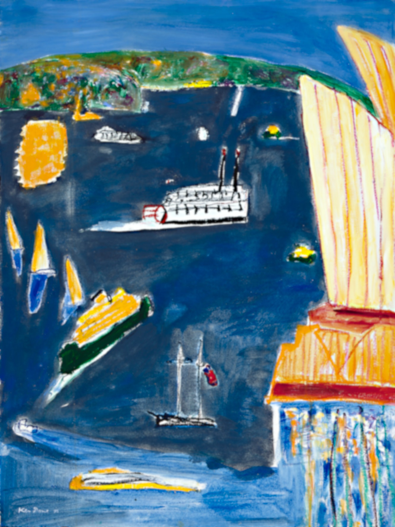 (CreativeWork) Grey sea and showboat, 1998 | Ken Done by Ken Done. Mixed Media. Shop online at Bluethumb.