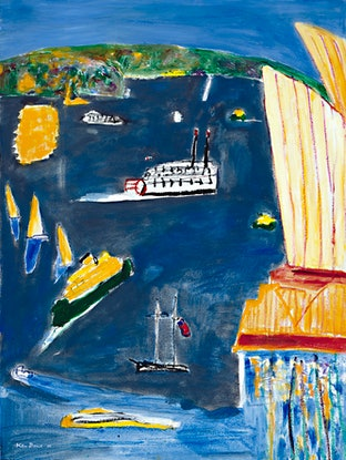 (CreativeWork) Grey sea and showboat, 1998   Ken Done by Ken Done. Mixed Media. Shop online at Bluethumb.
