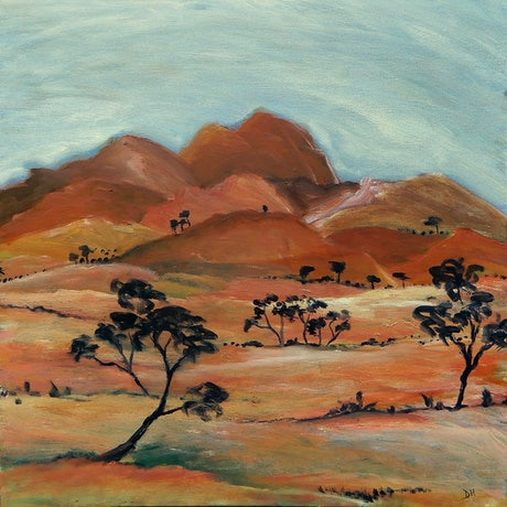 (CreativeWork) Road to Kwartetweme (Ormiston Gorge) by Doodie Herman. Acrylic Paint. Shop online at Bluethumb.