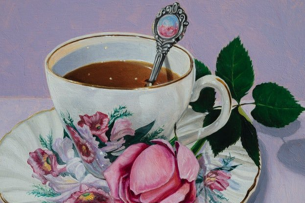 (CreativeWork) Purple Rose Tea by Melissa Ritchie. Oil. Shop online at Bluethumb.