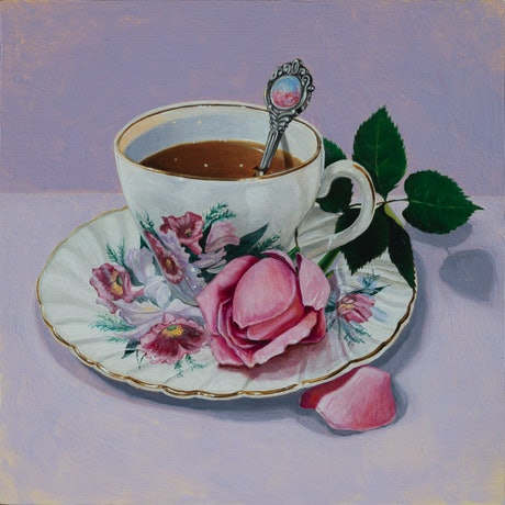 (CreativeWork) Purple Rose Tea by Melissa Ritchie. Oil Paint. Shop online at Bluethumb.