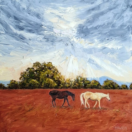 (CreativeWork) The Wanderers by Angela Hawkey. Oil Paint. Shop online at Bluethumb.