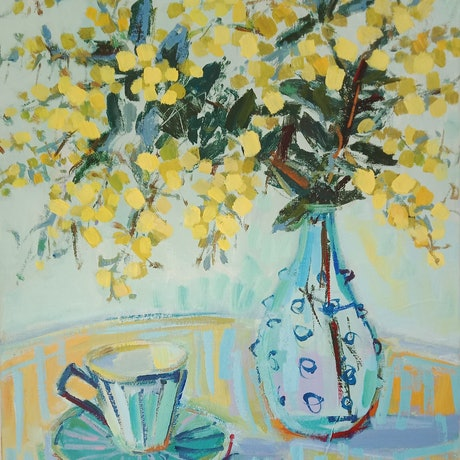 (CreativeWork) WATTLE AND TEA by Karen McPhee. Acrylic Paint. Shop online at Bluethumb.