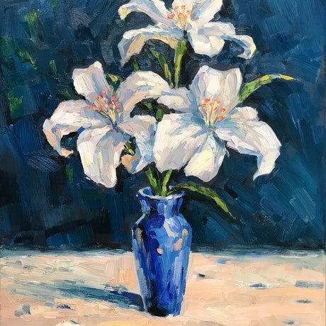 (CreativeWork) White Lilies by Fangmin Wu. Oil Paint. Shop online at Bluethumb.